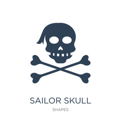 sailor skull icon vector on white background, sailor skull trendy filled icons from Shapes collection, sailor skull vector illustration
