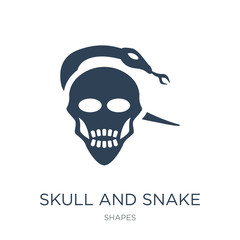 skull and snake icon vector on white background, skull and snake trendy filled icons from Shapes collection, skull and snake vector illustration