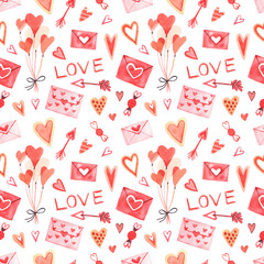 Watercolor seamless pattern with elements for Valentine's Day.  Hearts, sweets, balls, gifts and other cute items.