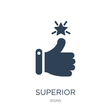 superior icon vector on white background, superior trendy filled icons from Signs collection, superior vector illustration