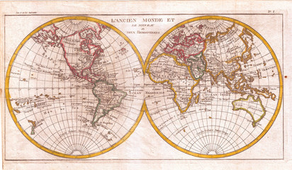Fototapete - 1780, Raynal and Bonne Map of the Two Hemispheres, Rigobert Bonne 1727 – 1794, one of the most important cartographers of the late 18th century