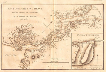 1784, Bocage Map of The Bosphorus and the City of Byzantium, Istanbul, Constantinople