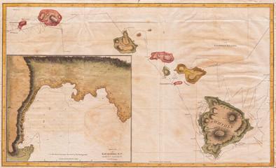 1785, Cook, Bligh Map of Hawaii