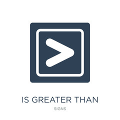 is greater than icon vector on white background, is greater than trendy filled icons from Signs collection, is greater than vector illustration