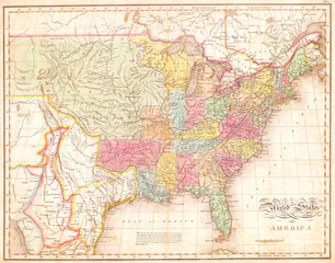 1823, Melish Map of the United States of America