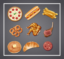 Set of delicious food