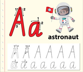 Letter A tracing alphabet worksheets