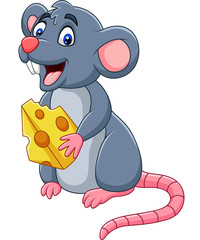 Cartoon mouse holding slice of cheese