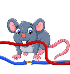 Cartoon mouse biting the cable