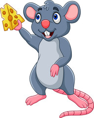 Cartoon mouse showing slice of cheese