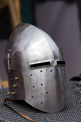 Iron helmet of the medieval knight.