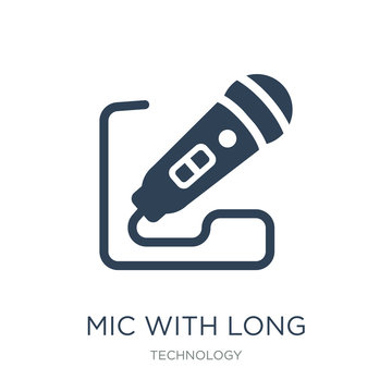 mic with long cable icon vector on white background, mic with long cable trendy filled icons from Technology collection, mic with long cable vector illustration