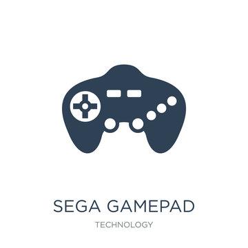 sega gamepad icon vector on white background, sega gamepad trendy filled icons from Technology collection, sega gamepad vector illustration