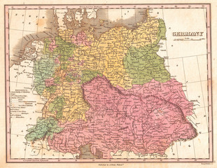 1827, Finley Map of Germany, Anthony Finley mapmaker of the United States in the 19th century