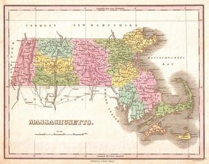1827, Finley Map of Massachusetts, Anthony Finley mapmaker of the United States in the 19th century