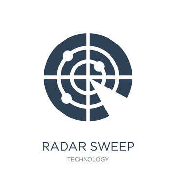 radar sweep icon vector on white background, radar sweep trendy filled icons from Technology collection, radar sweep vector illustration