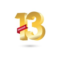 13 Year Anniversary Vector Template Design Illustration