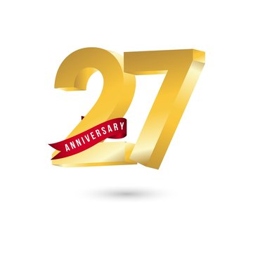 27 Year Anniversary Vector Template Design Illustration