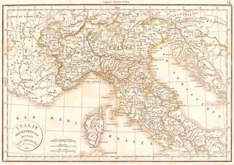1832, Delamarche Map of Northern Italy and Corsica