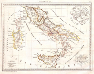 1837, Malte-Brun Map of Italy in Ancient Roman Times