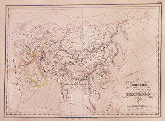 1837, Malte-Brun Map of the Mongol Empire in Asia and Europe