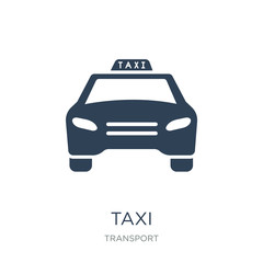 taxi transportation car from frontal view icon vector on white b