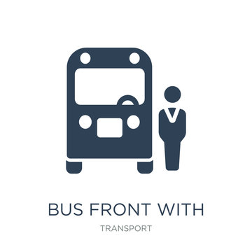 bus front with driver icon vector on white background, bus front with driver trendy filled icons from Transport collection, bus front with driver vector illustration