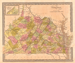 1848, Greenleaf Map of Virginia