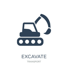 excavate icon vector on white background, excavate trendy filled icons from Transport collection, excavate vector illustration