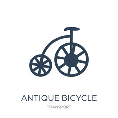 antique bicycle icon vector on white background, antique bicycle trendy filled icons from Transport collection, antique bicycle vector illustration
