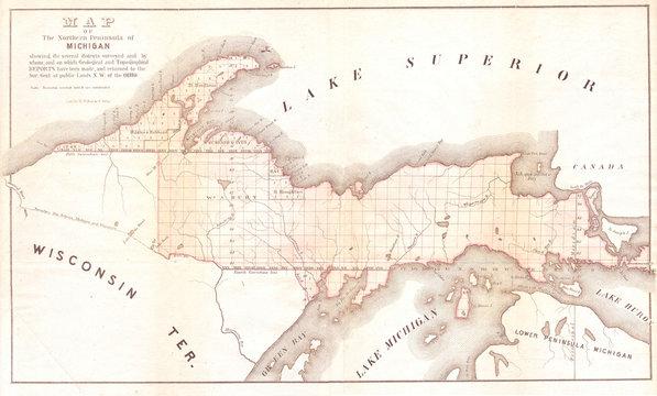 1849, Land Survey Map of Michigan Upper Peninsula