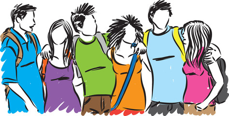 teenagers group of students vector illustration