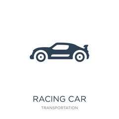racing car icon vector on white background, racing car trendy filled icons from Transportation collection, racing car vector illustration