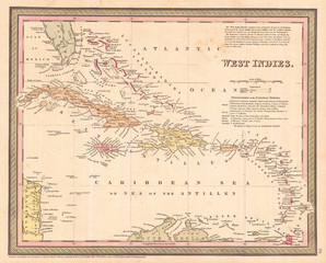 Fototapete - 1850, Cowperthwait Map of Cuba and West Indies