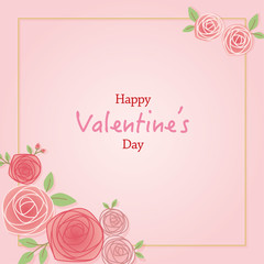 Rose flower frame illustration for Valentine's day