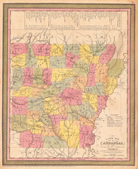 1853, Mitchell Map of Arkansas