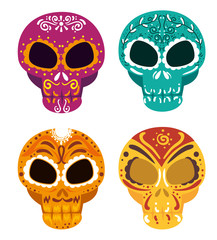 set skulls with ornamental decoration to day od the dead