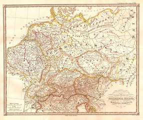 1855, Spruneri Map of Germany or Germania Magna in Ancient Times