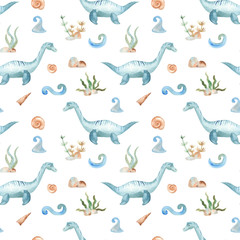 Watercolor dinosaur prehistoric period. Illustration of an elasmosaurus underwater for kindergarten, wallpaper, cards, invitations, childish design. Seamless pattern.