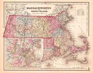 1857, Colton Map of Massachusetts and Rhode Island