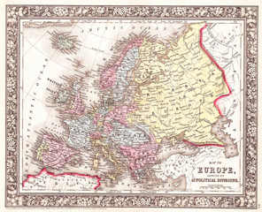 1860, Mitchell Map of Europe
