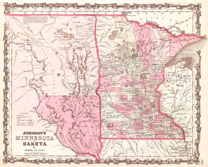 1862, Johnson Map of Minnesota and Dakota
