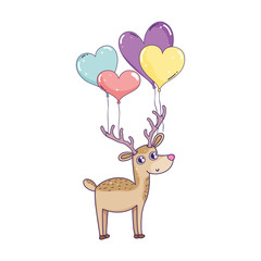 cute love reindeer with balloons helium character