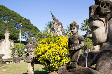 Buddha Park (Wat Xieng Khuan) is a famous sculpture park with more than 200 religious.