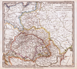 1862, Stieler Map of Poland and Hungary