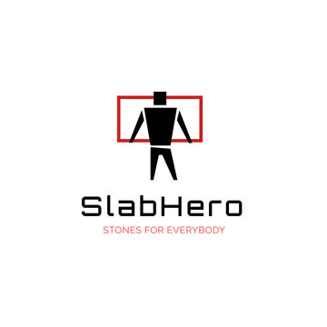 Vector slab company  logo with hero man and slab stone, rock store company symbol design template, building and construction brand icon sign