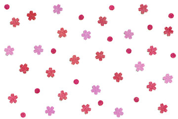 Türaufkleber Künstlich Red and pink glitter confetti paper cut background - isolated