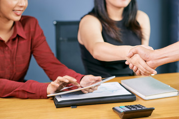 Business partners shaking hands to confirm deal after meeting