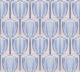 Stylized ornaments with tulips. Vector seamless graphics.