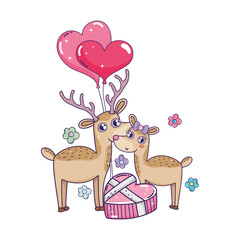 cute love reindeer couple with hearts balloons helium